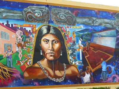 Toypurina, central figure of ART HEALS mural in Ramona Park